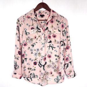 Ann Taylor Pink Floral Popover Blouse